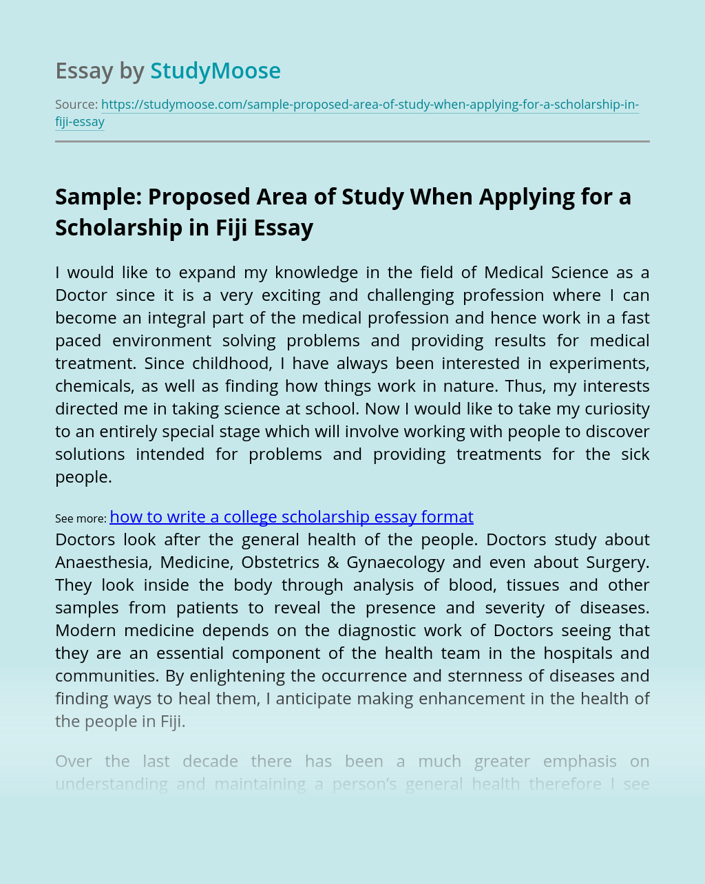 Sample: Proposed Area of Study When Applying for a Scholarship in Fiji
