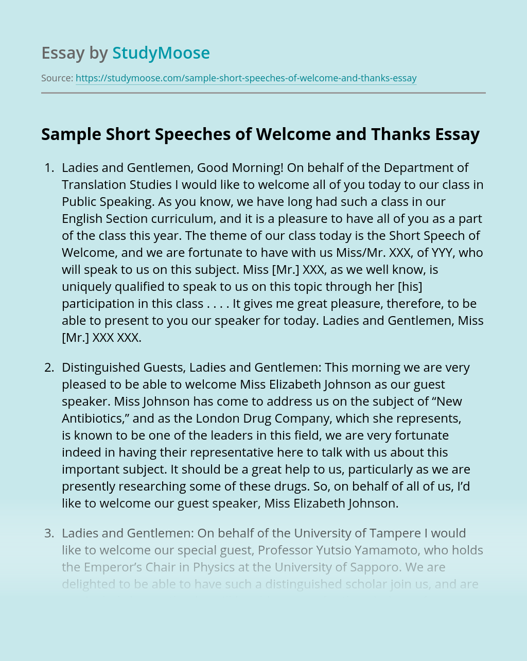 Sample Short Speeches of Welcome and Thanks