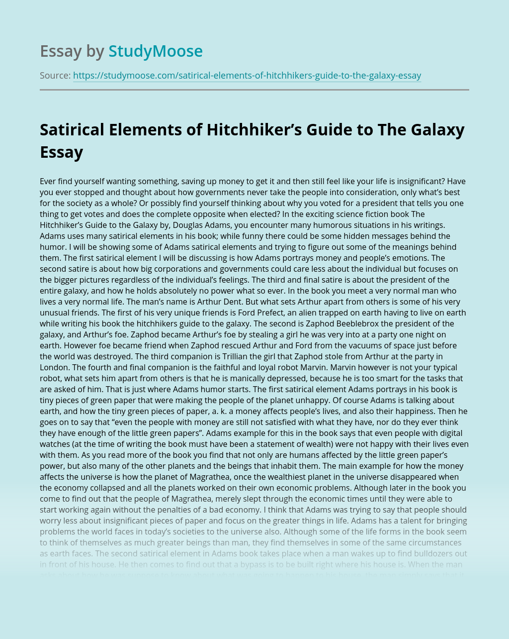 Satirical Elements of Hitchhiker's Guide to The Galaxy