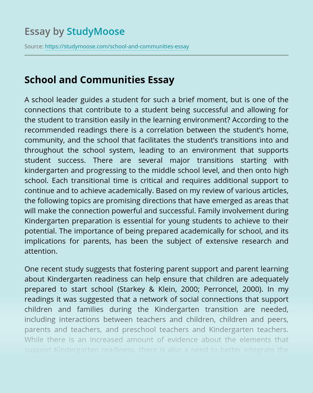 School and Communities