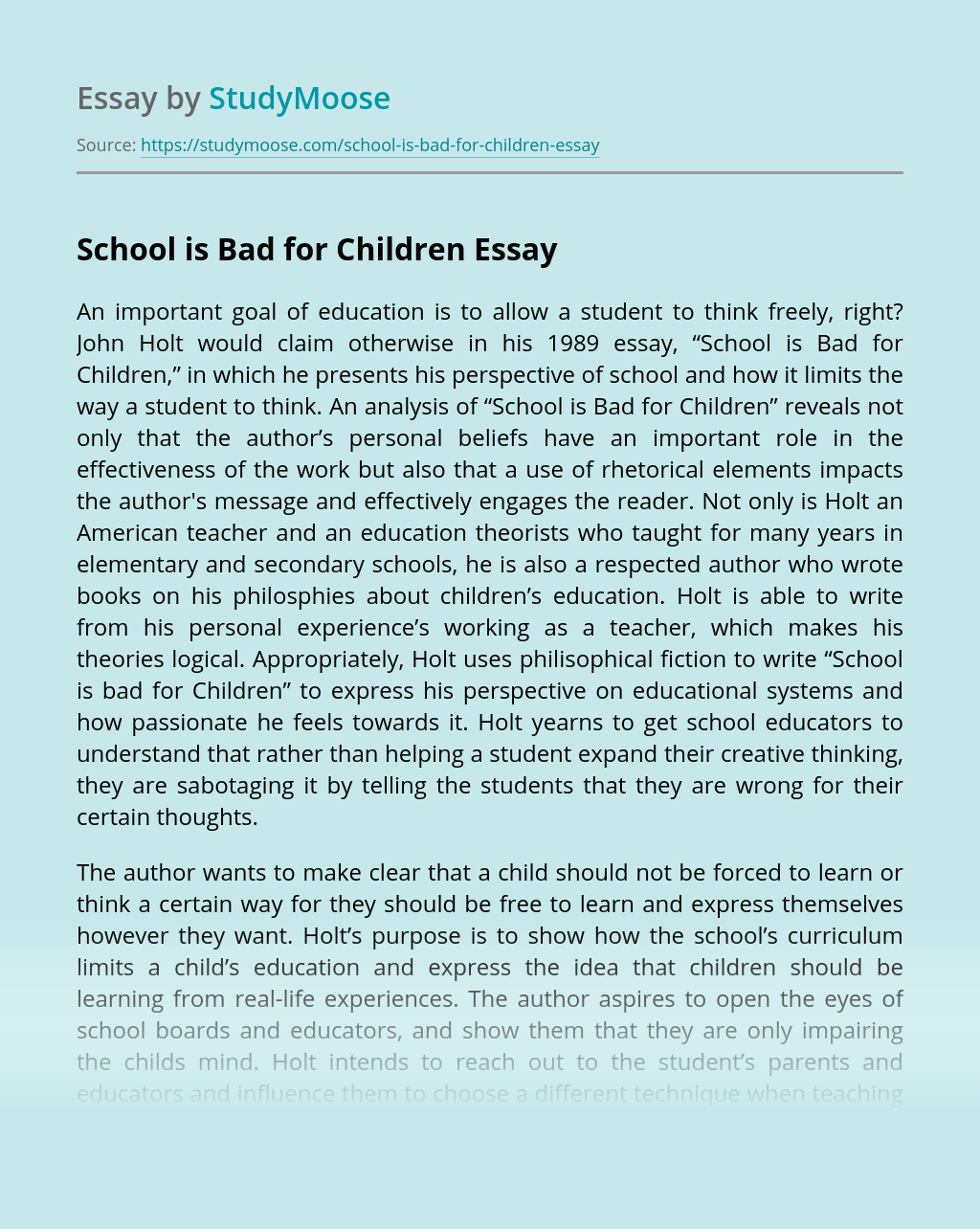 School is Bad for Children