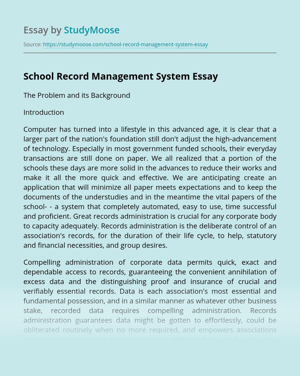 School Record Management System