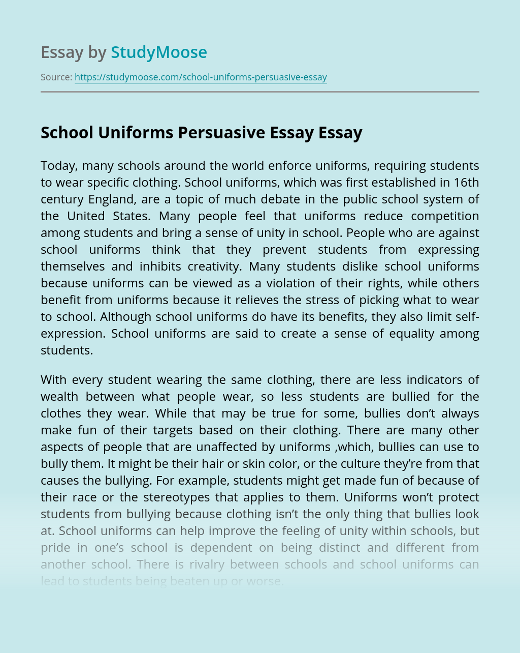 School Uniforms Persuasive Essay
