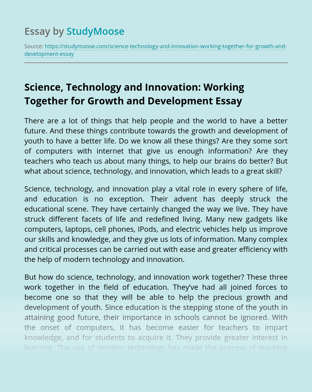Science, Technology and Innovation: Working Together for Growth and Development
