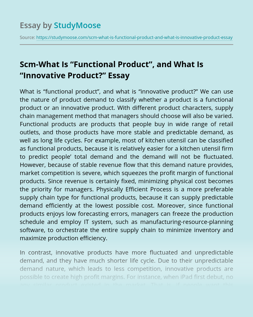 """Scm-What Is """"Functional Product"""", and What Is """"Innovative Product?"""""""