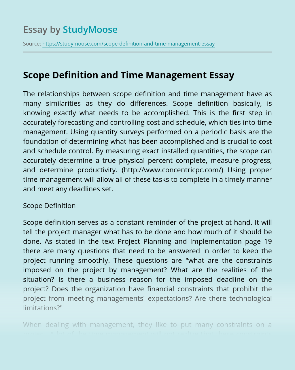 Scope Definition and Time Management