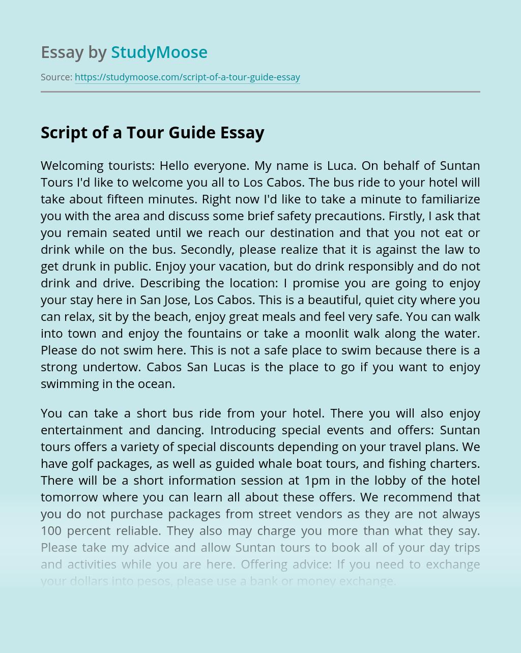 Script of a Tour Guide