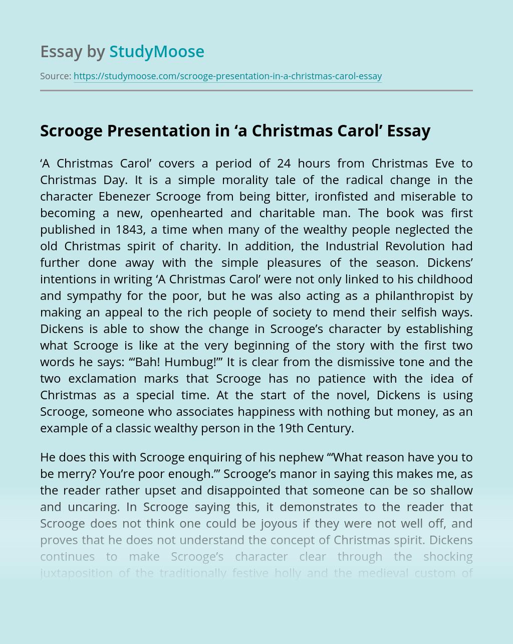 Scrooge Presentation in 'a Christmas Carol'