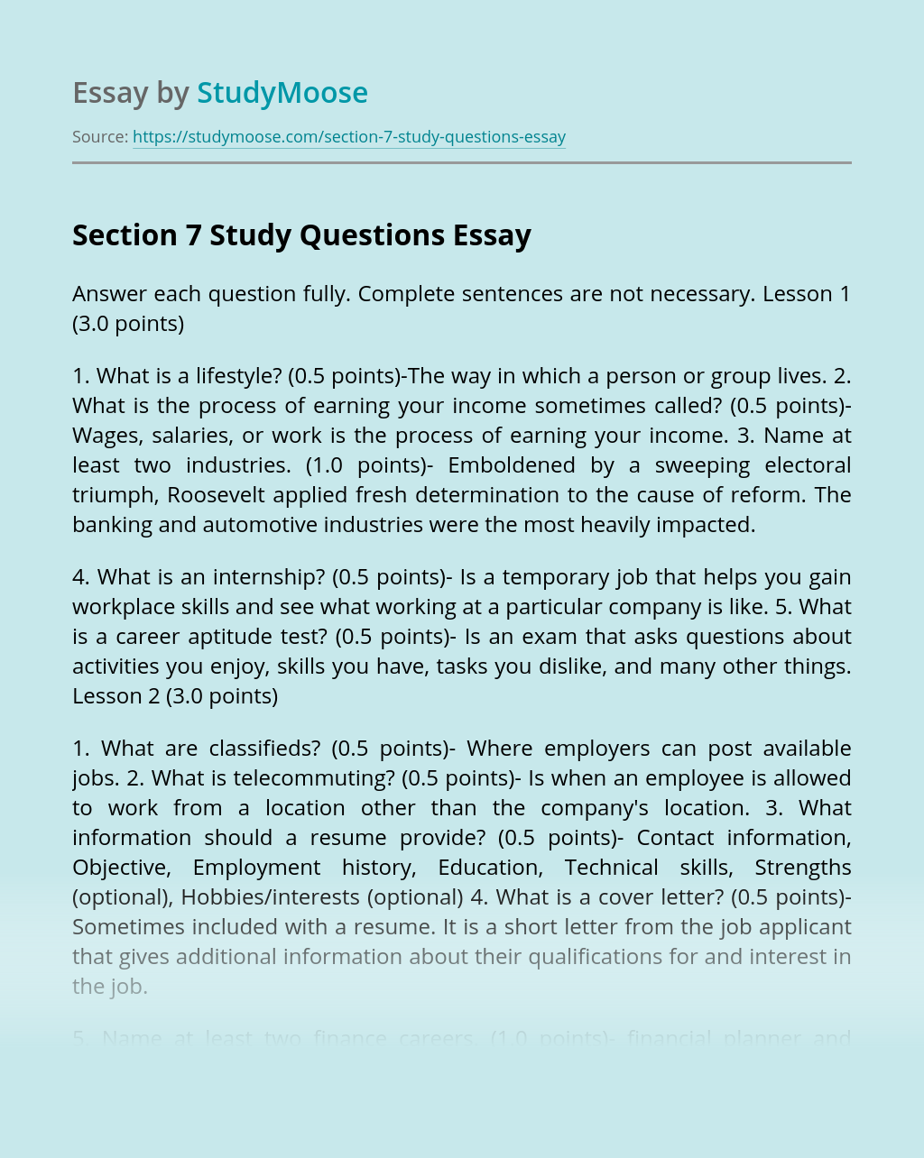 Section 7 Study Questions
