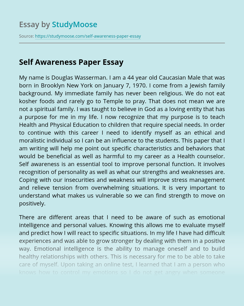 Self Awareness Paper