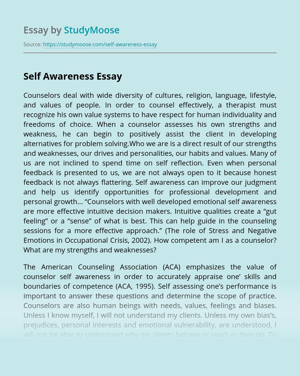 Self Awareness