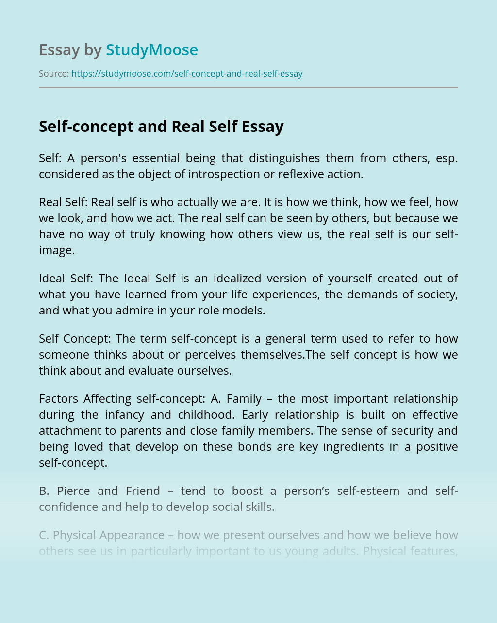 Self-concept and Real Self