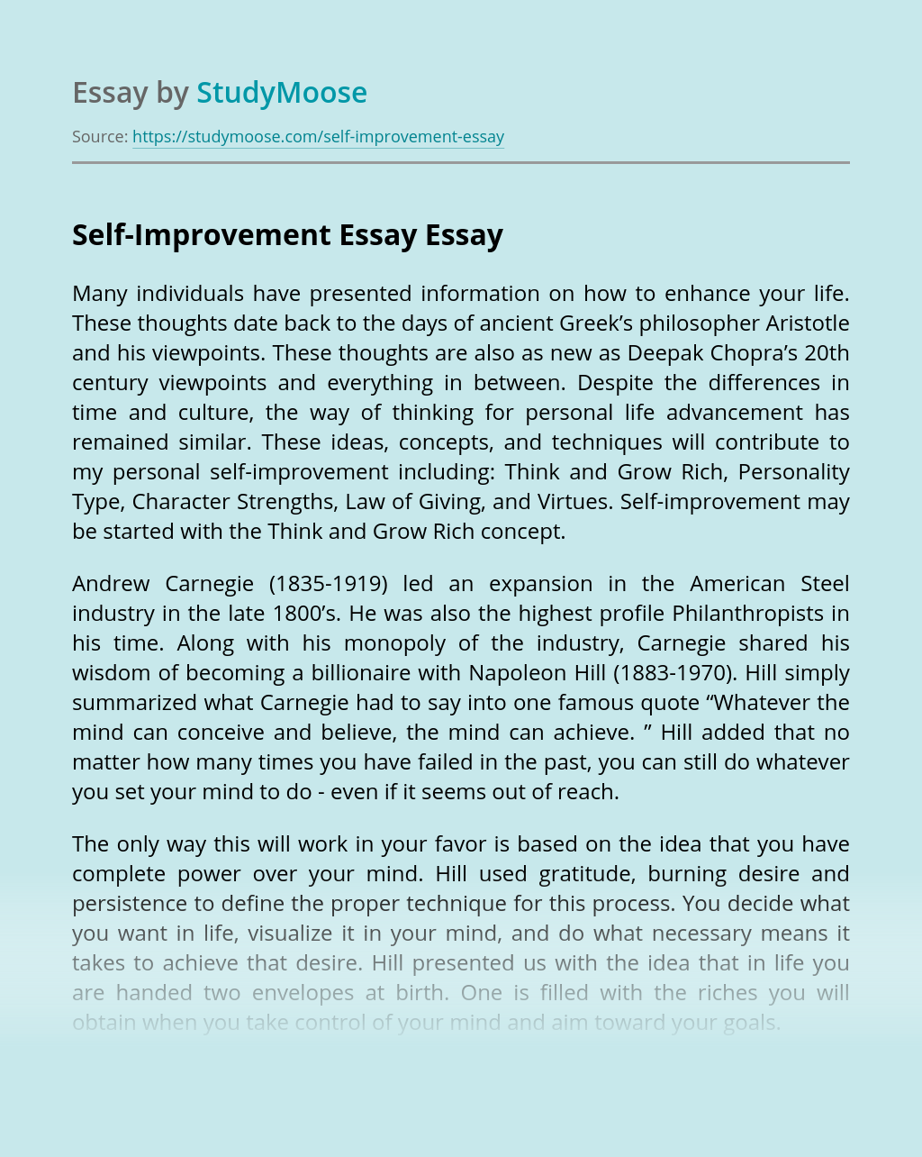 Self-Improvement Essay
