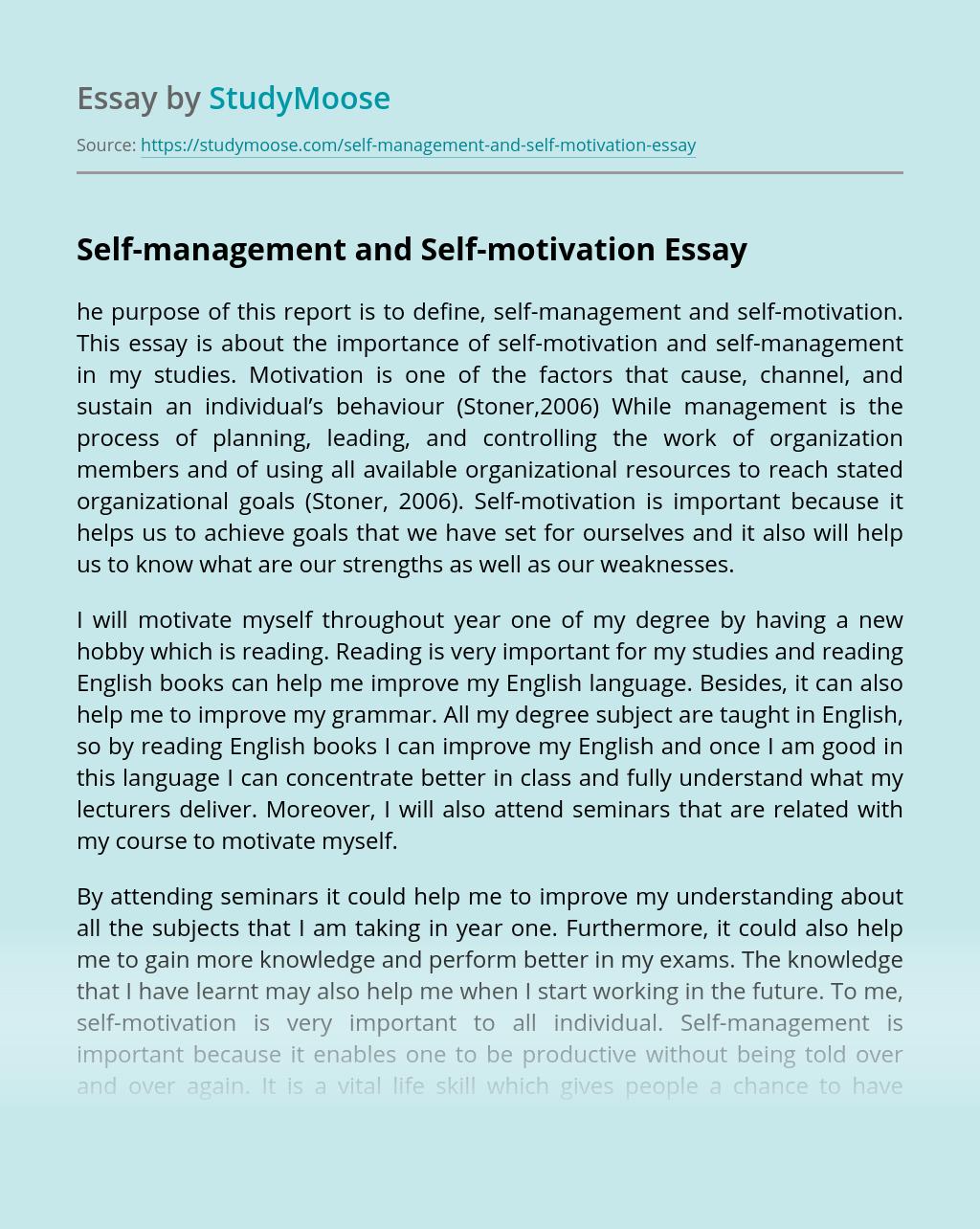 Self-management and Self-motivation