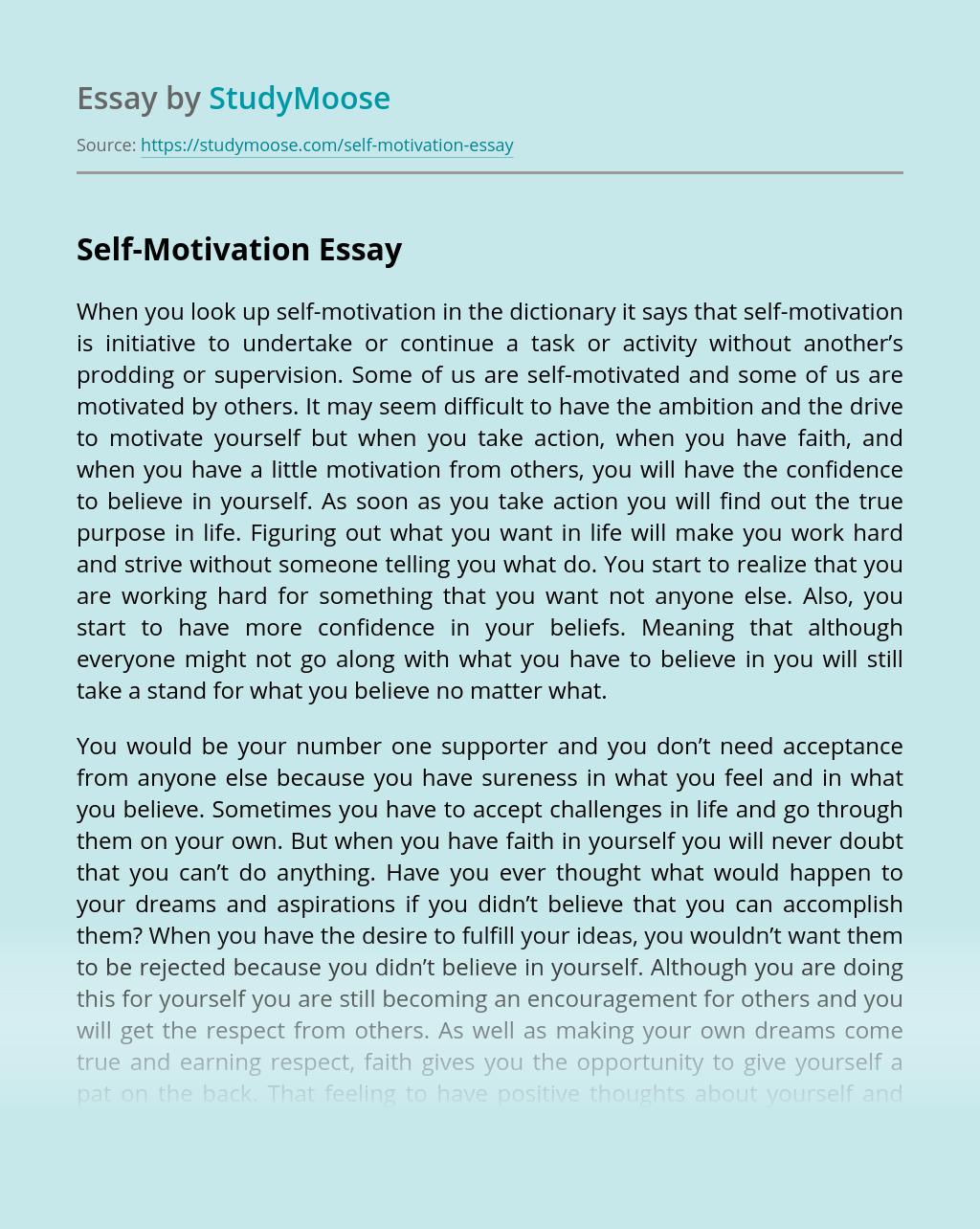 Self-Motivation Free Essay Example