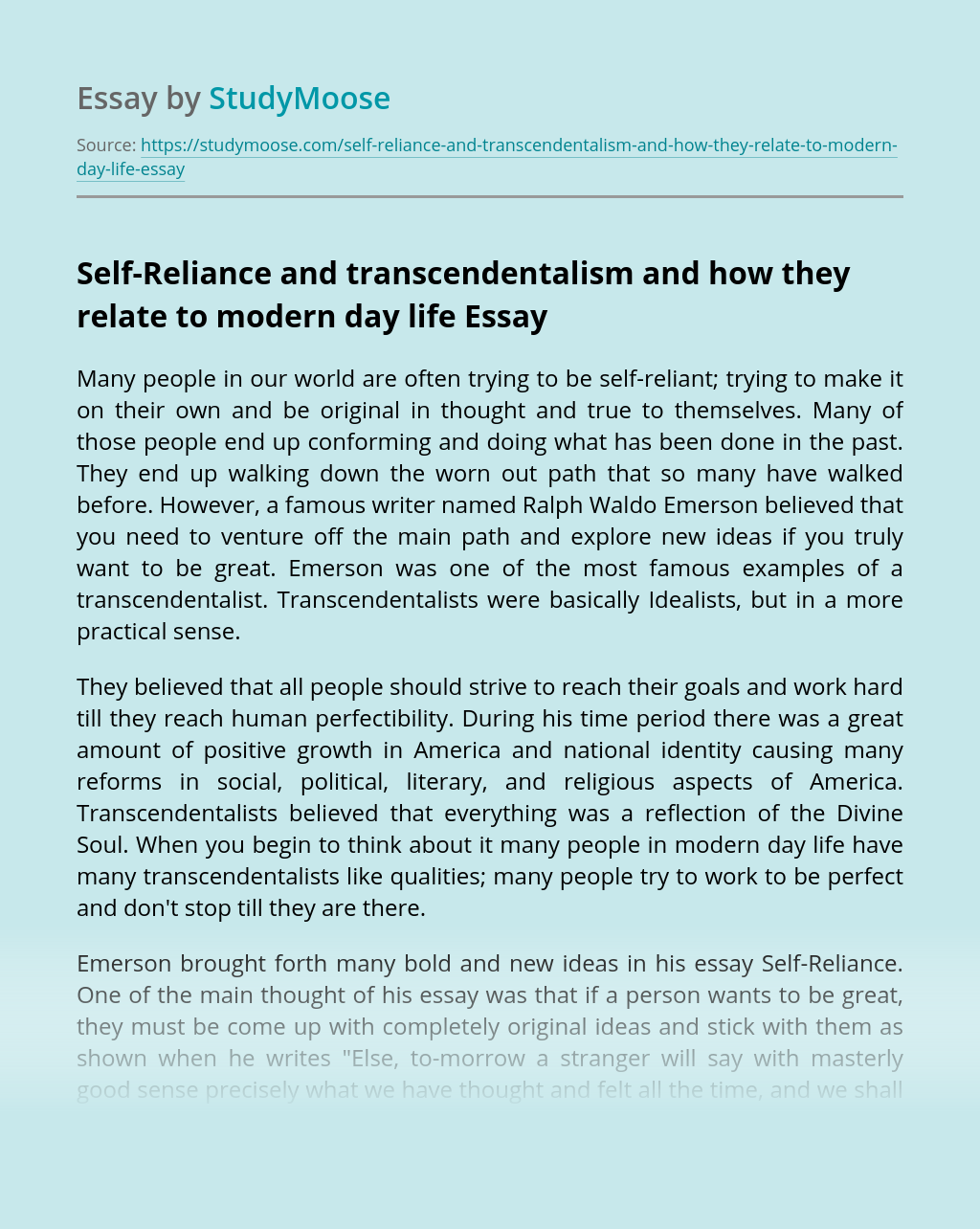 Self-Reliance and transcendentalism and how they relate to modern day life