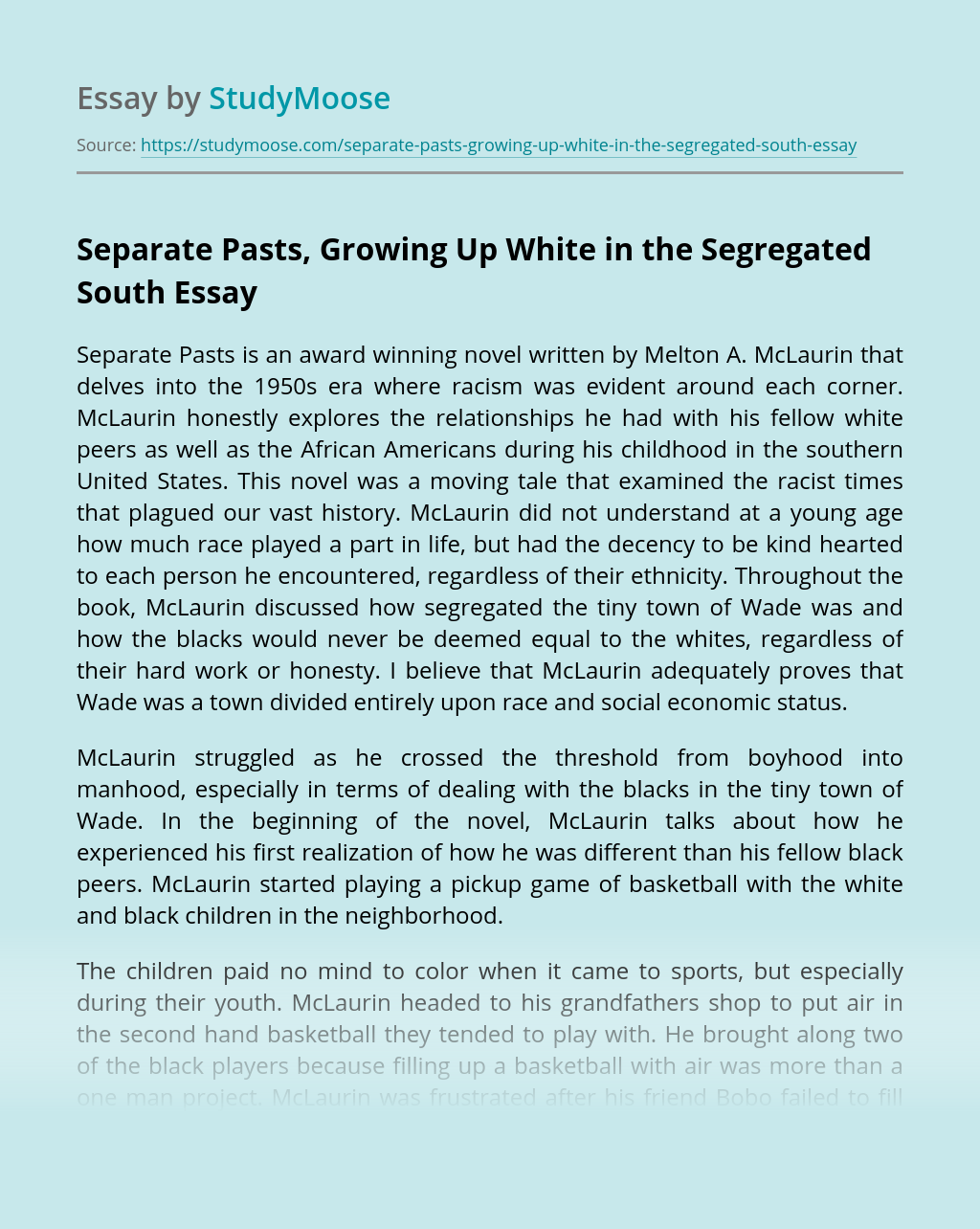 ?Separate Pasts, Growing Up White in the Segregated South
