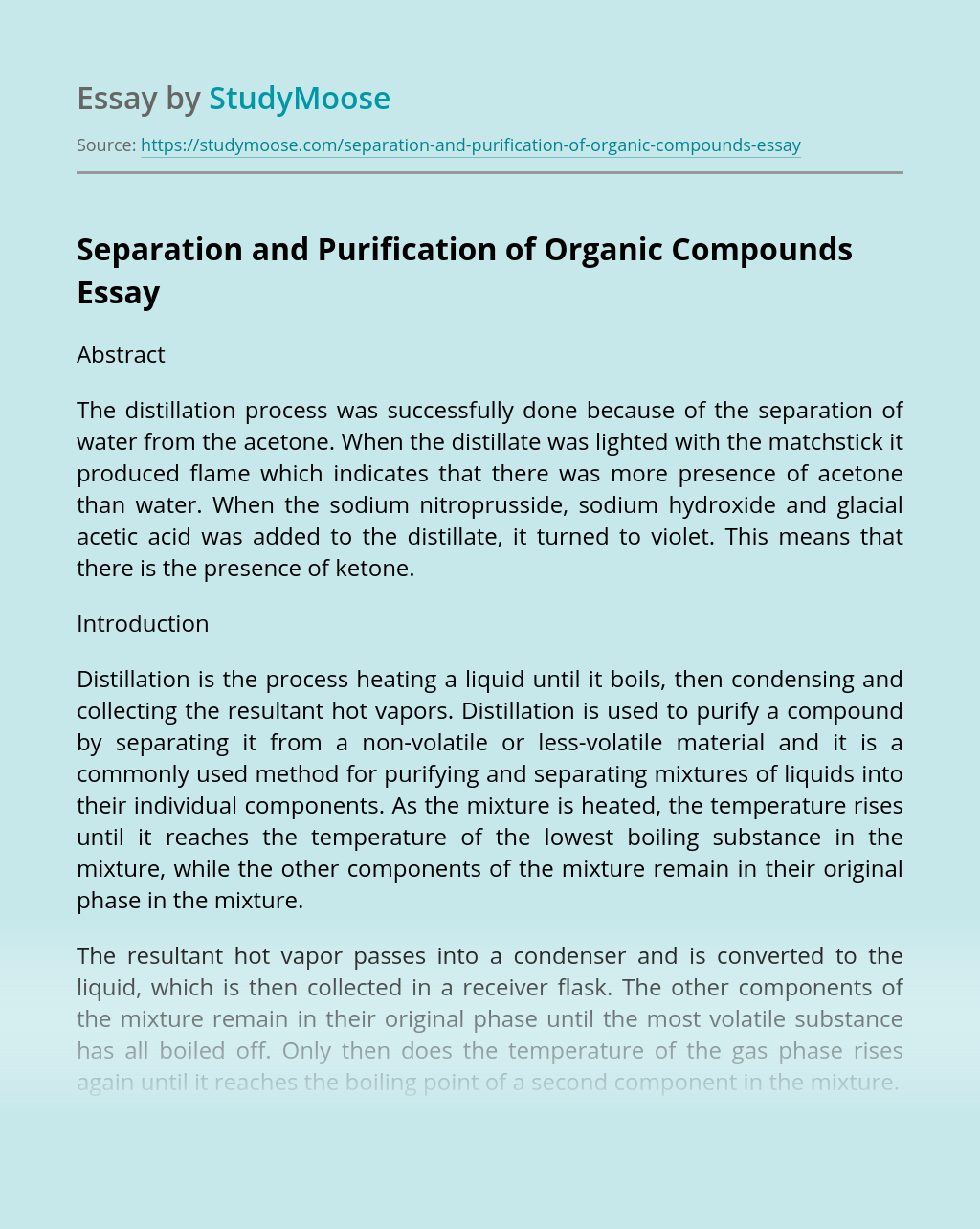 Separation and Purification of Organic Compounds
