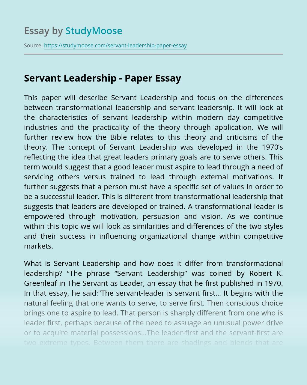 Servant Leadership - Paper