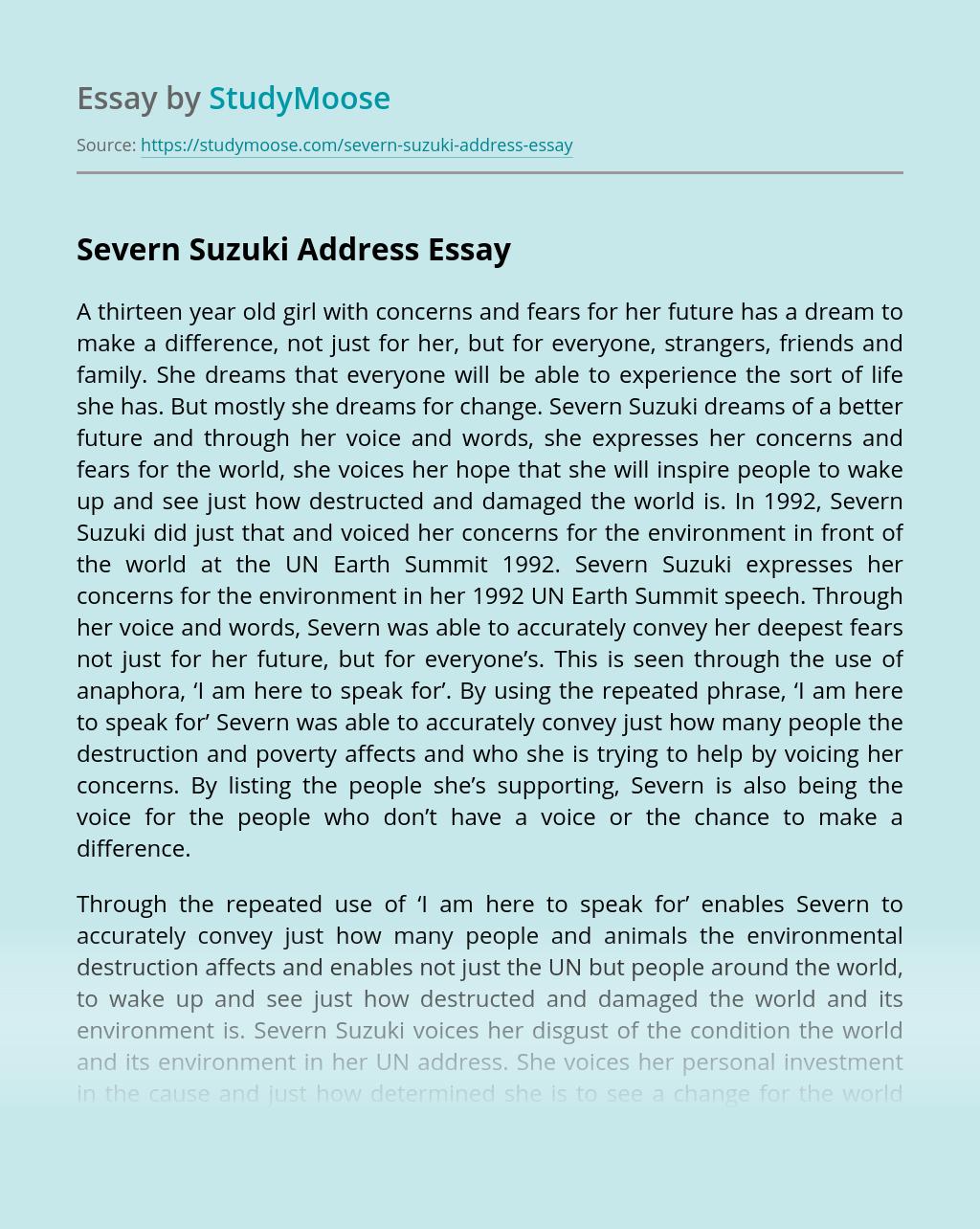 Severn Suzuki Address