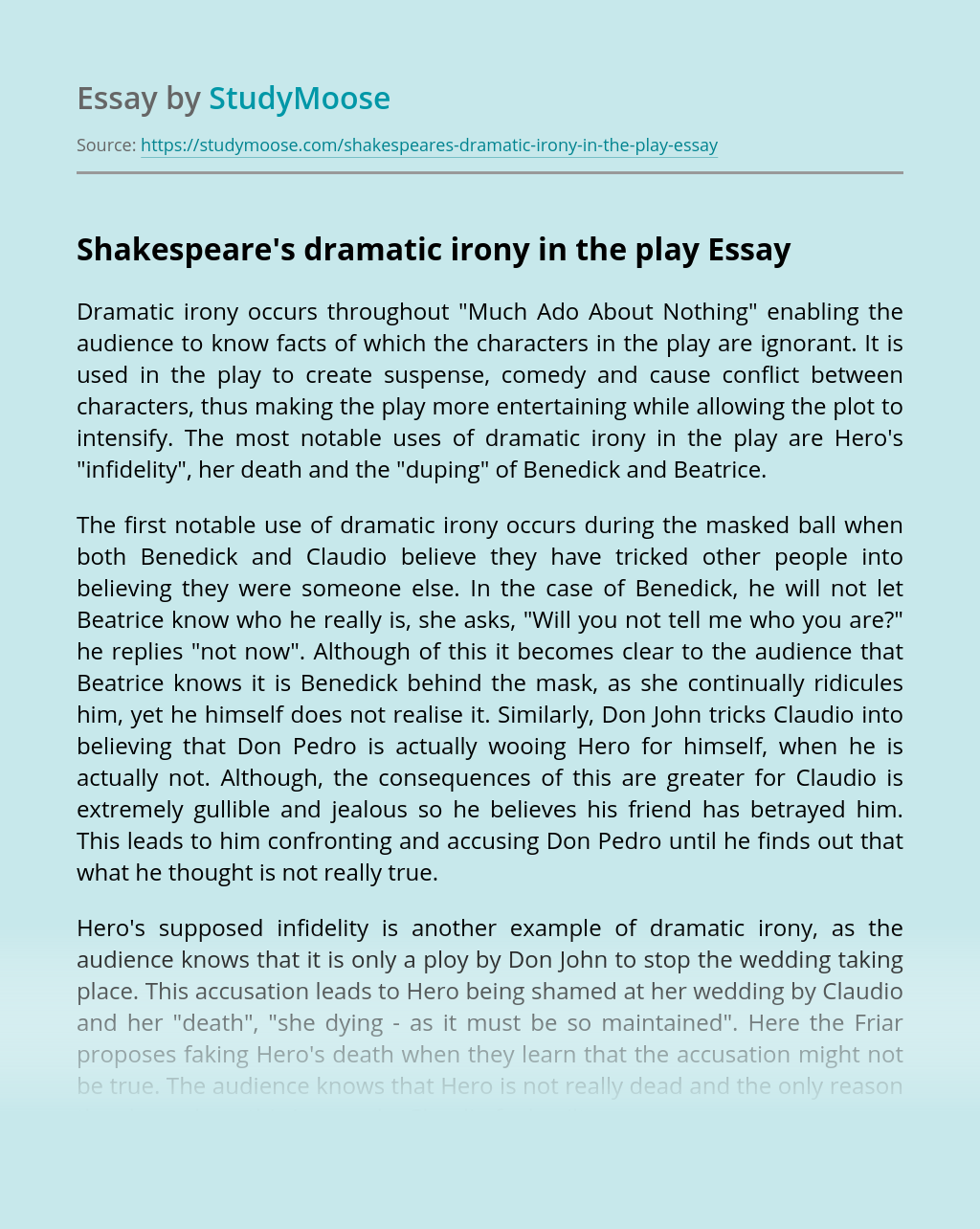 Shakespeare's dramatic irony in the play