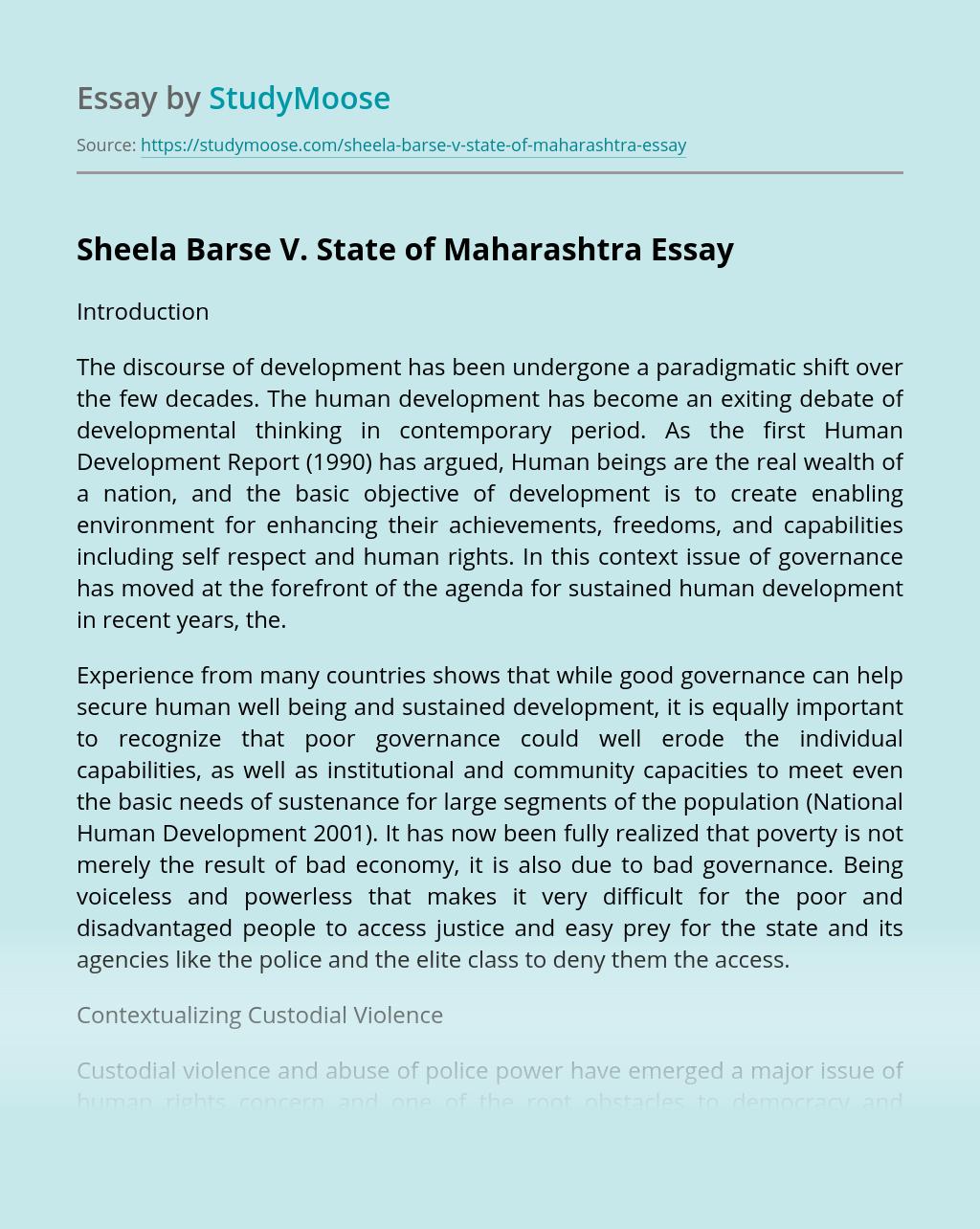 Sheela Barse V. State of Maharashtra