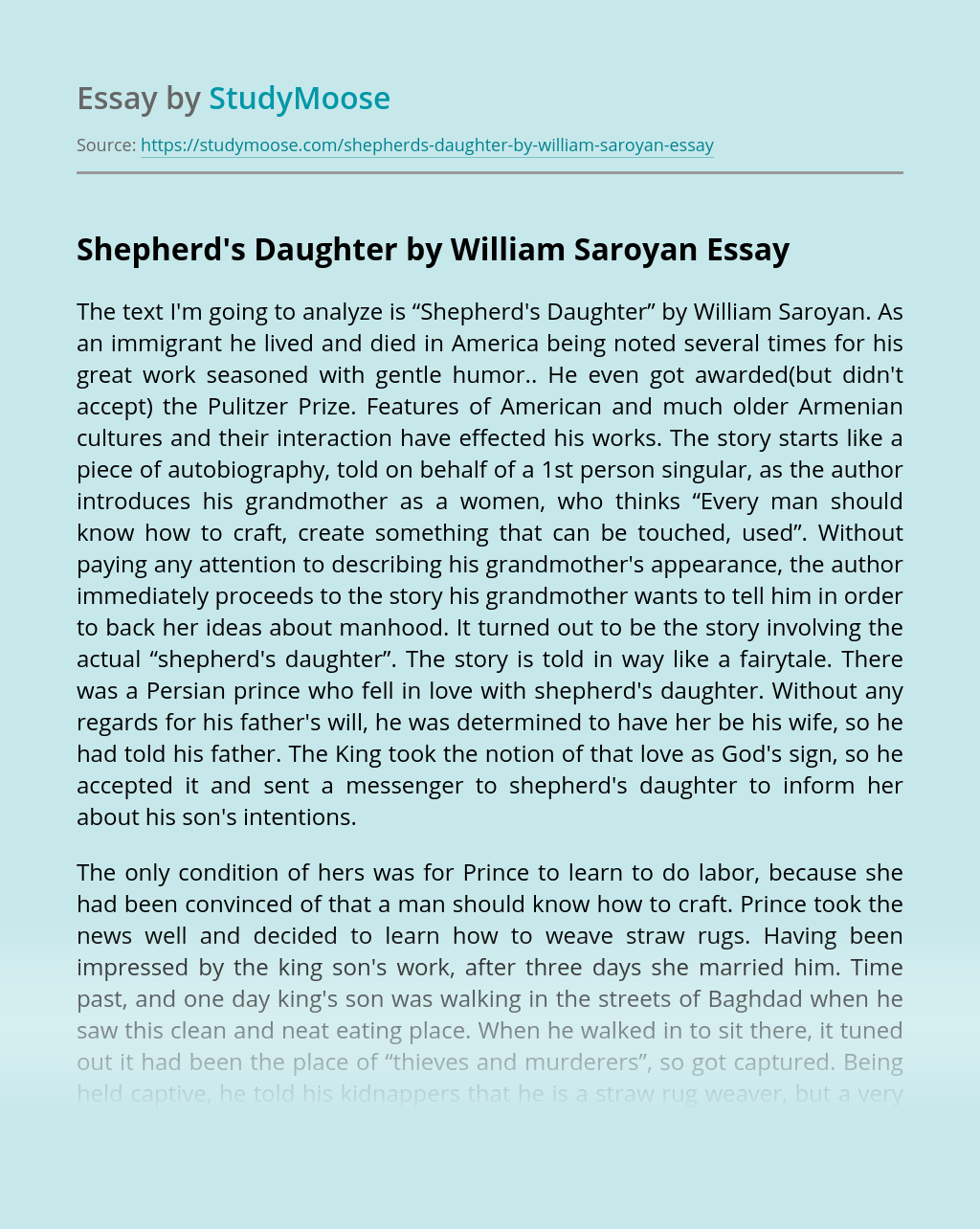 Shepherd's Daughter by William Saroyan