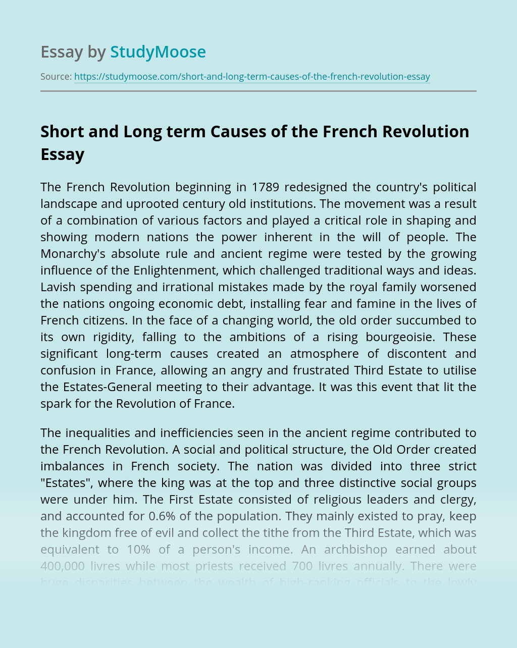 Short and Long term Causes of the French Revolution