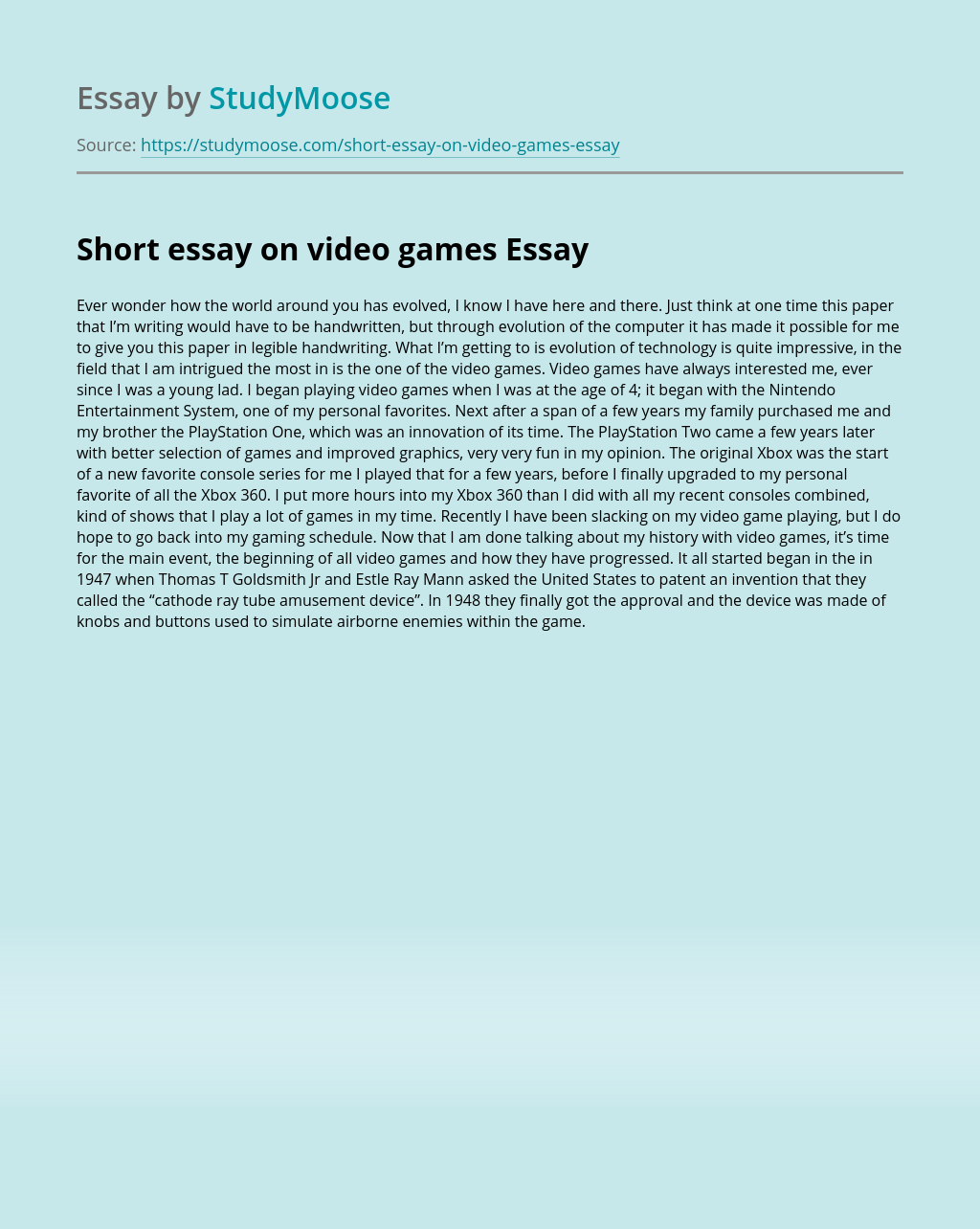 Short essay on video games
