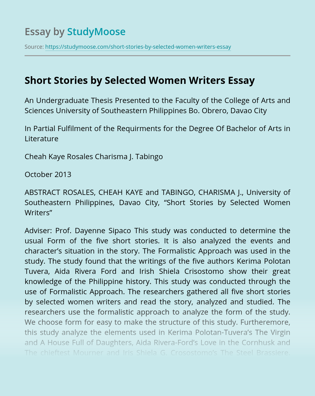 Short Stories by Selected Women Writers