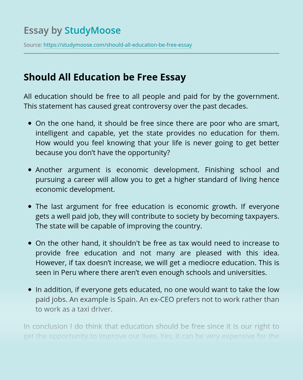 Should All Education be Free