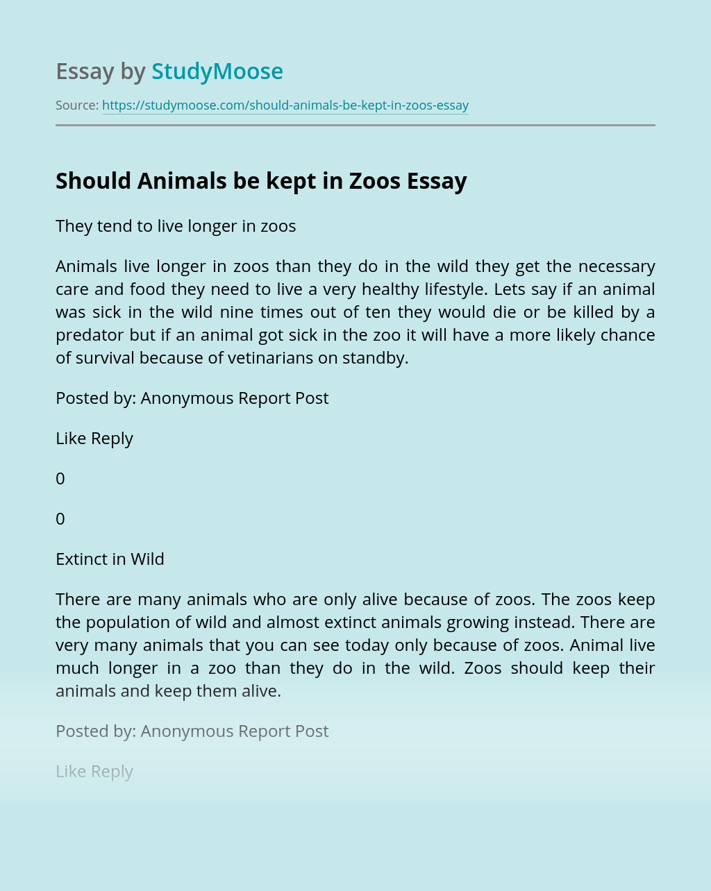 Should Animals be kept in Zoos