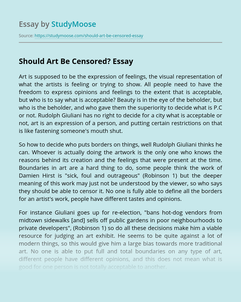 Should Art Be Censored?