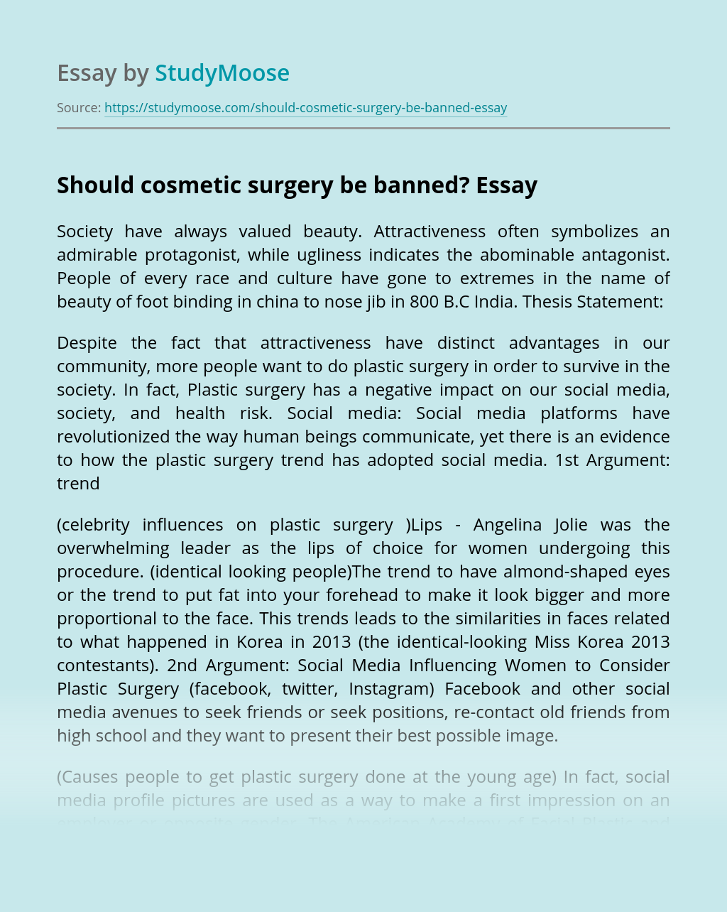 Should cosmetic surgery be banned?