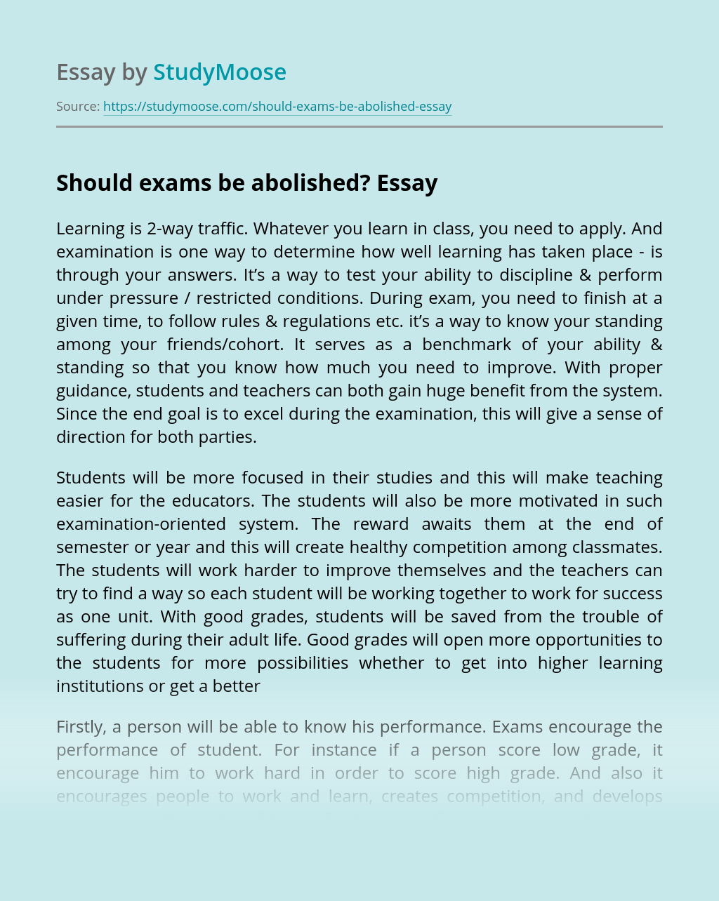 Should Exams be Abolished?