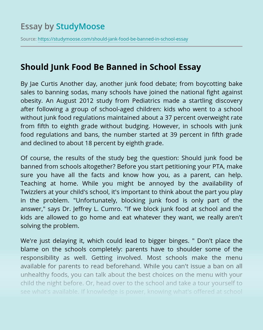 Should Junk Food Be Banned in School