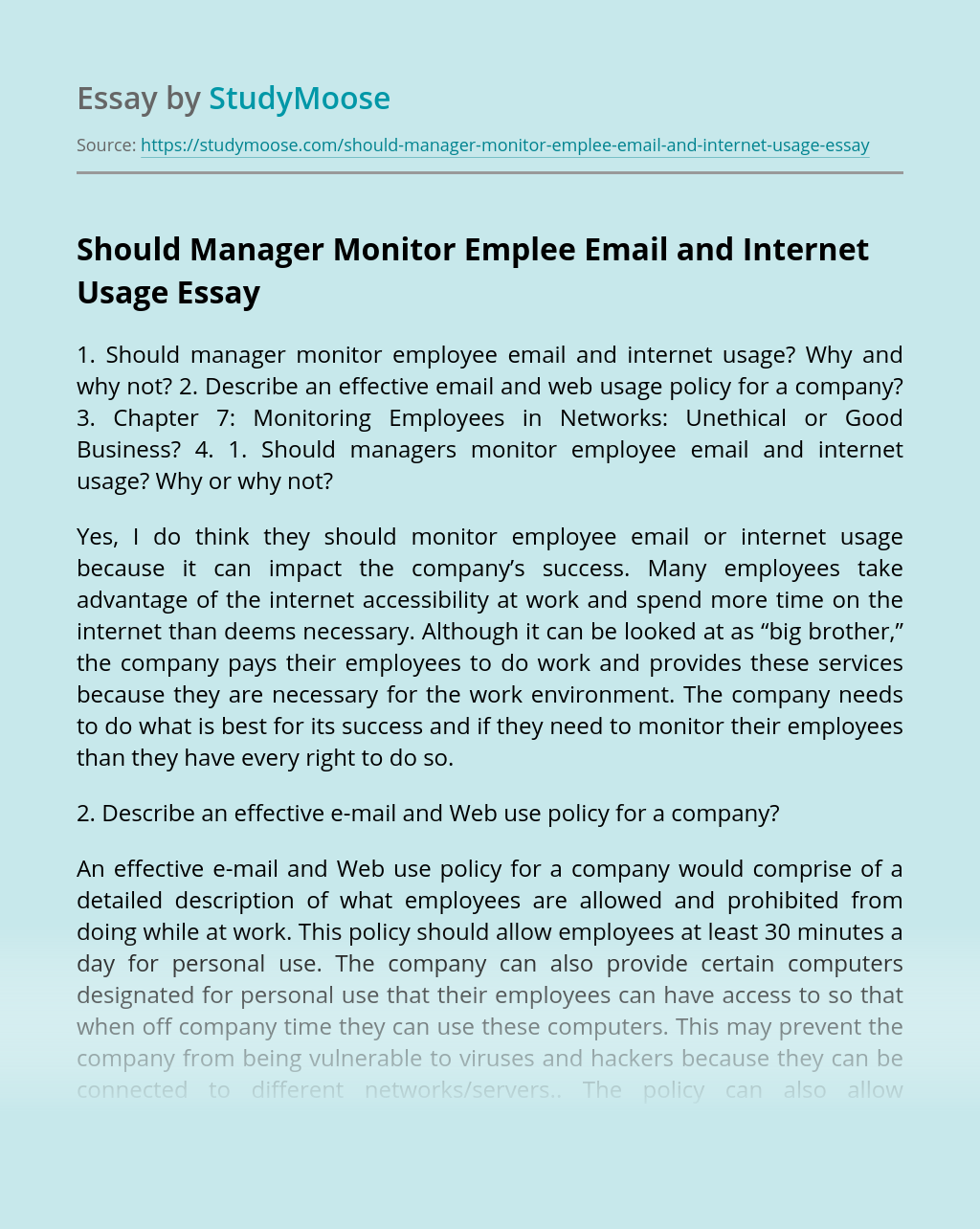 Should Manager Monitor Emplee Email and Internet Usage