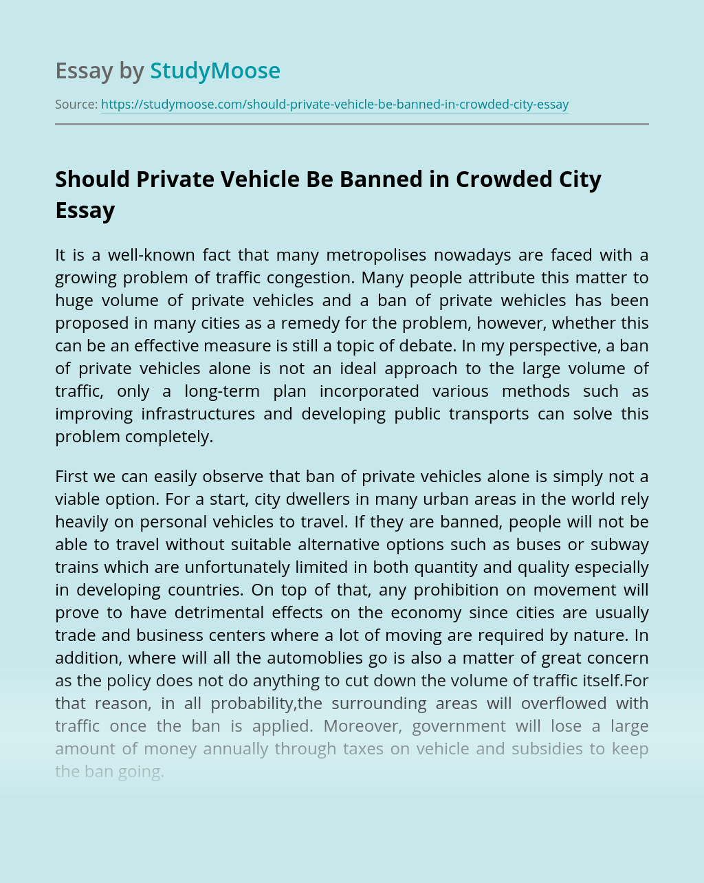 Should Private Vehicle Be Banned in Crowded City