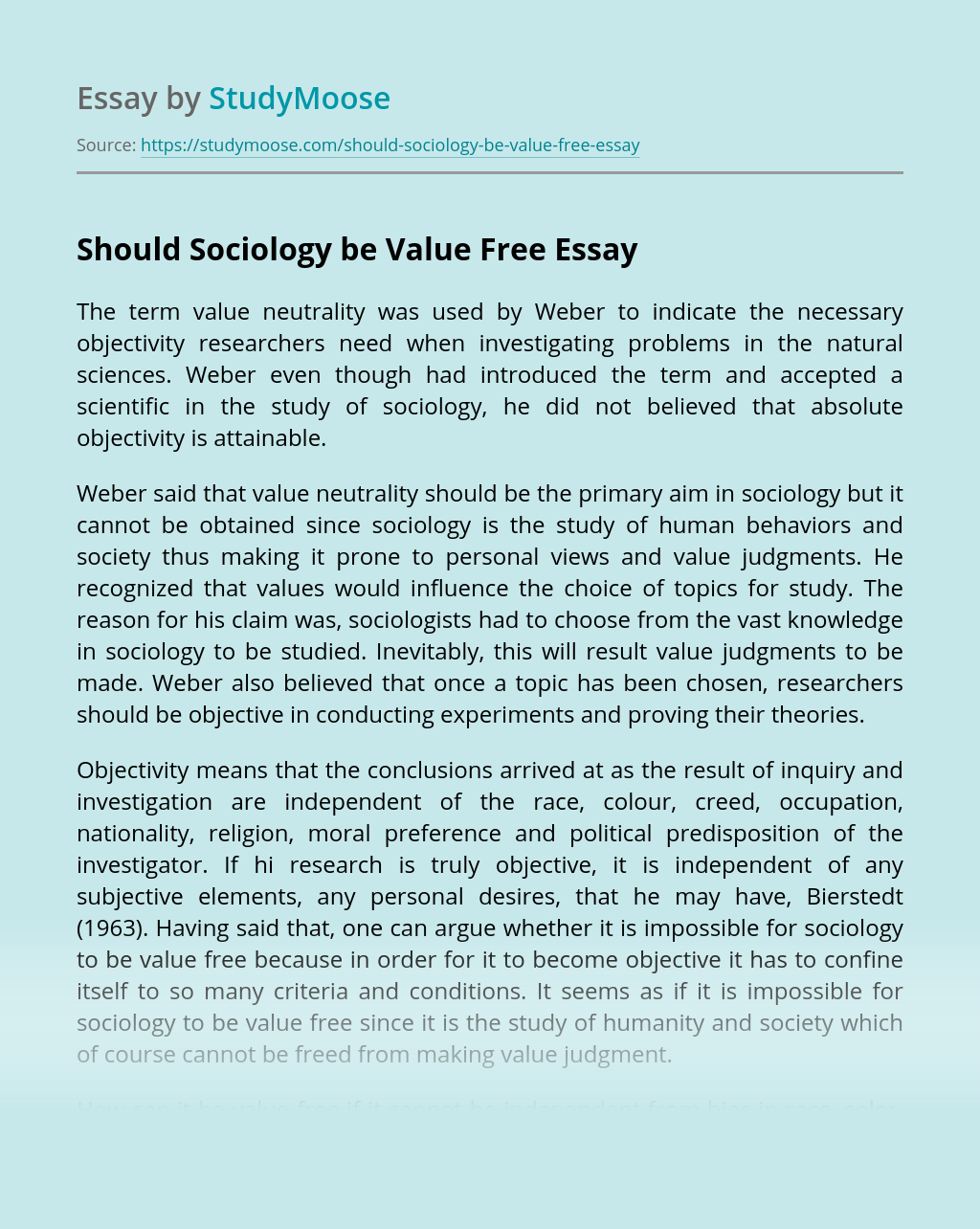 Should Sociology be Value Free