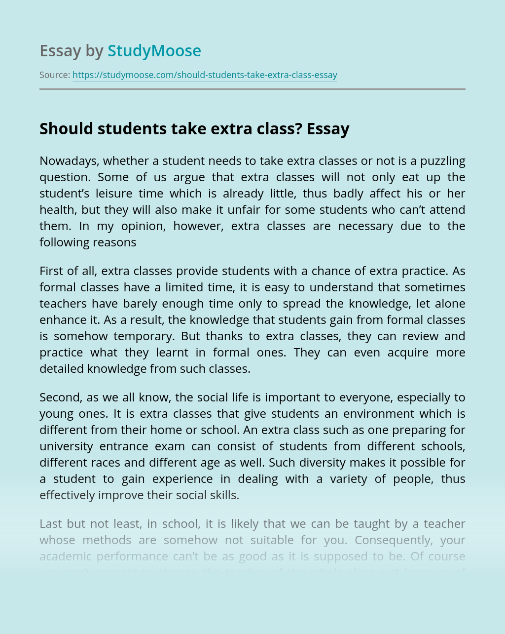 Should Students Take Extra Class?
