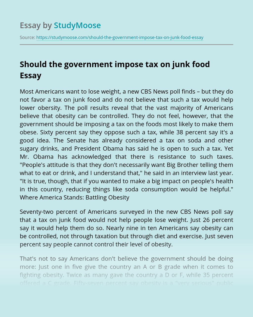 Should the government impose tax on junk food