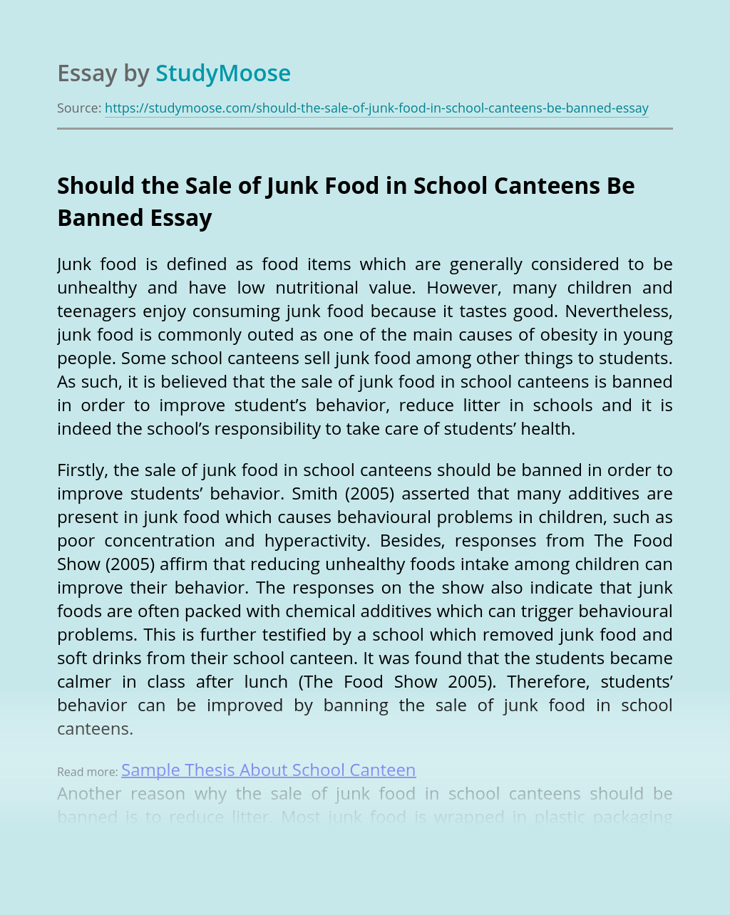 Should the Sale of Junk Food in School Canteens Be Banned