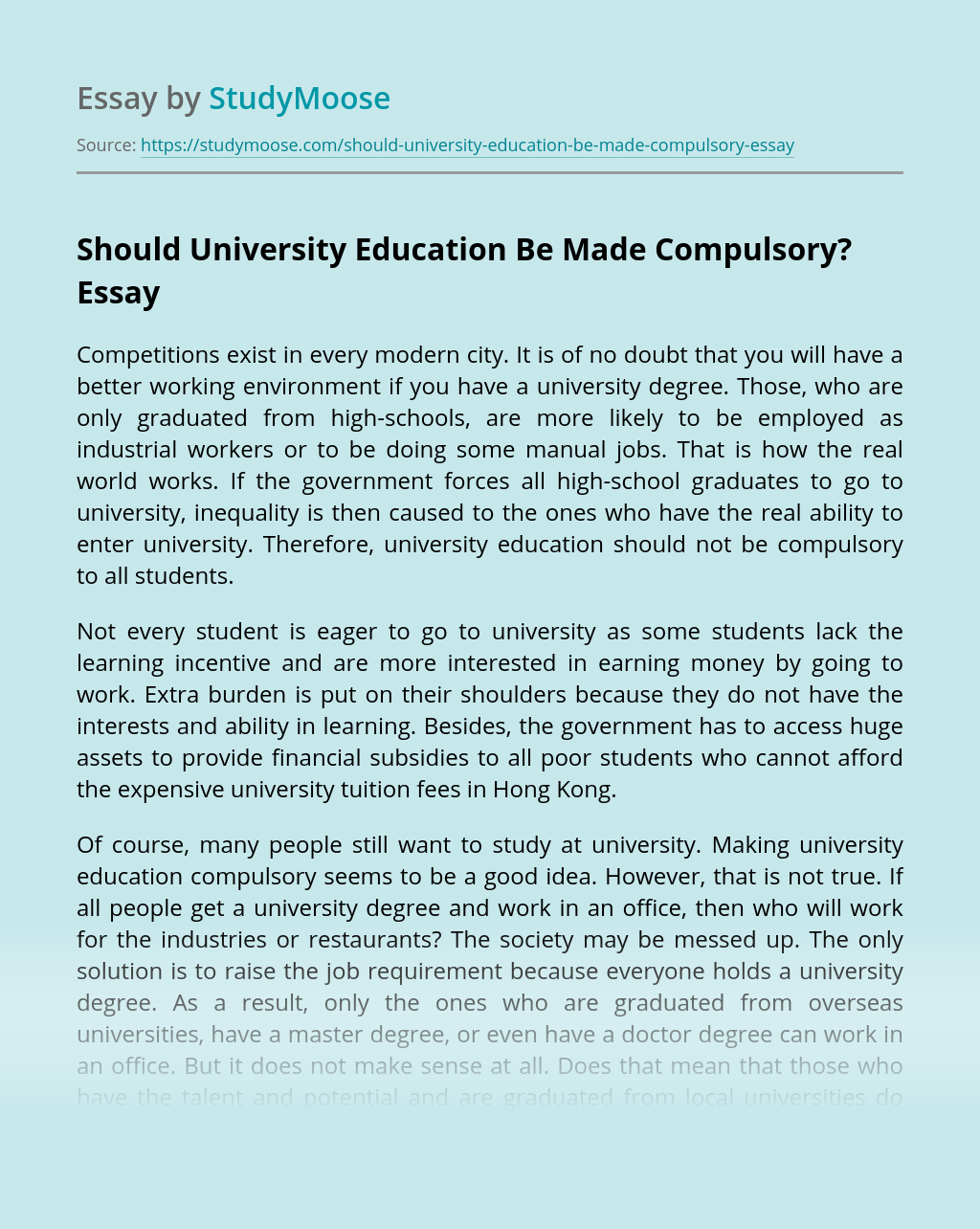 Essay On Admission In School Should Be Compulsory For All