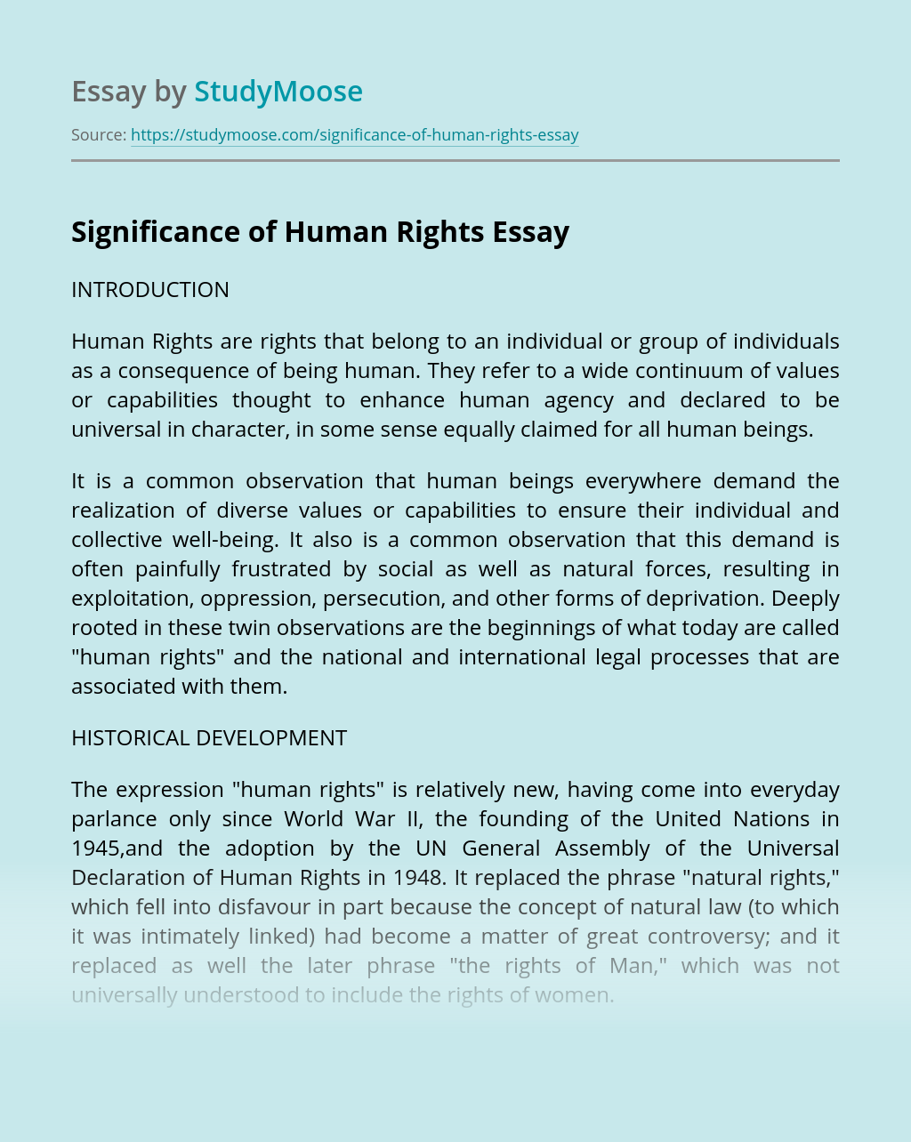 Significance of Human Rights