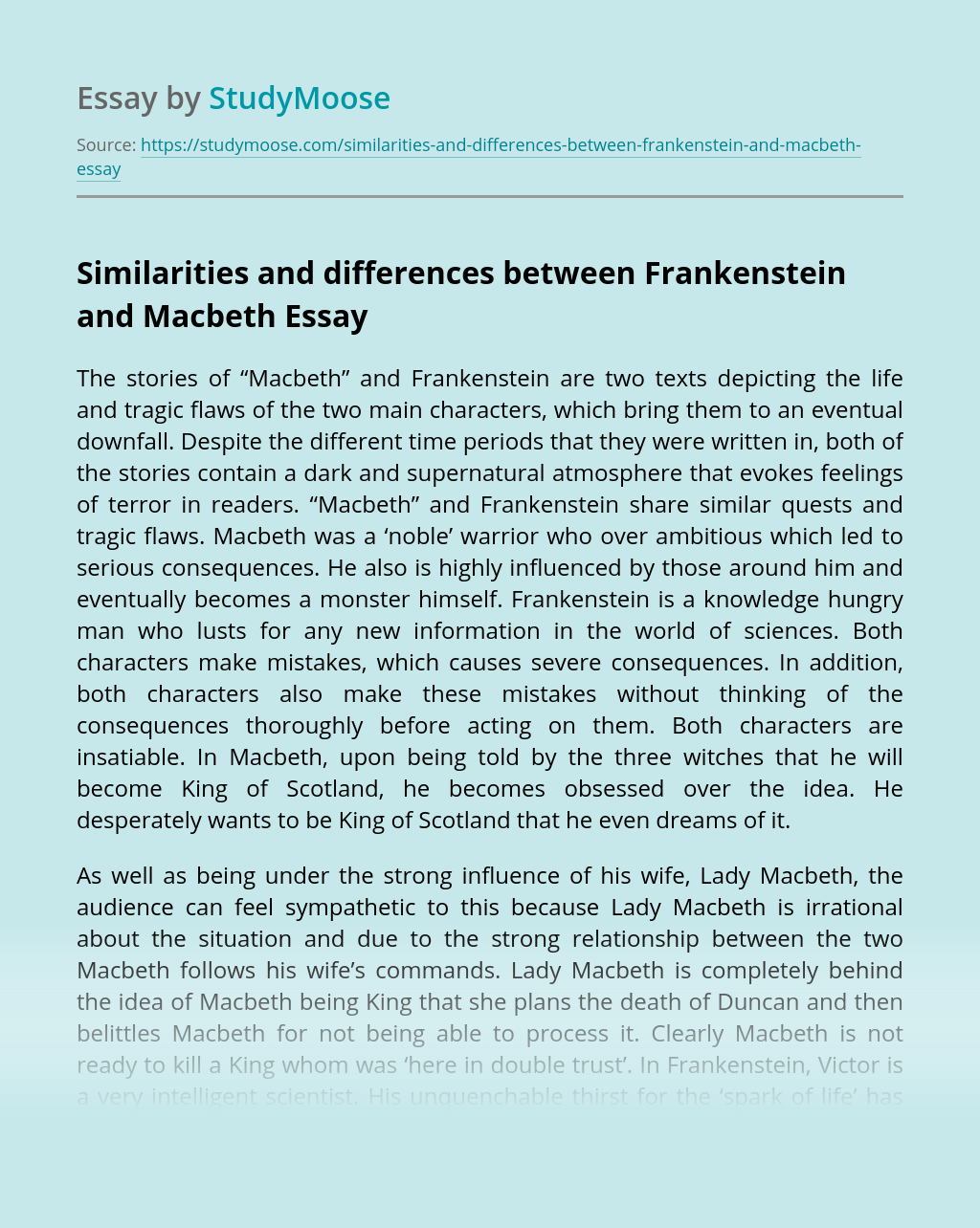 Similarities and differences between Frankenstein and Macbeth