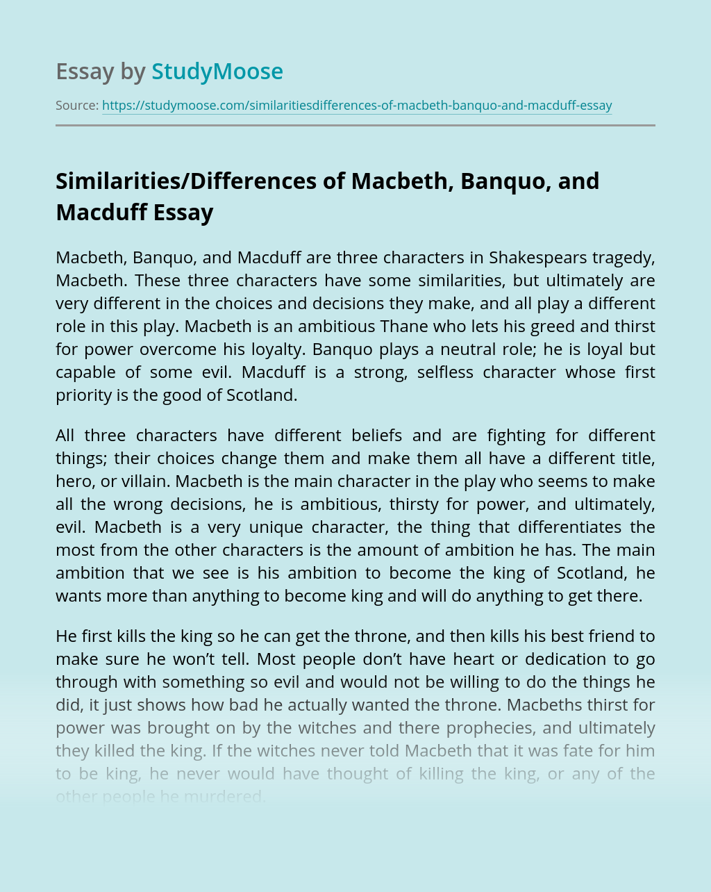 Similarities/Differences of Macbeth, Banquo, and Macduff