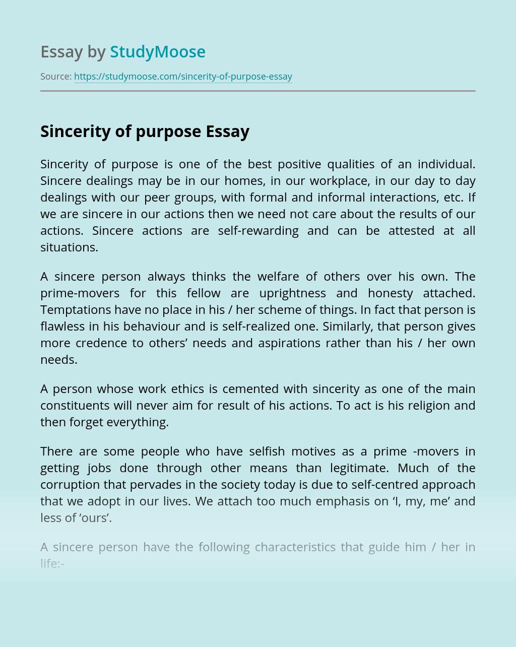 Sincerity of Purpose