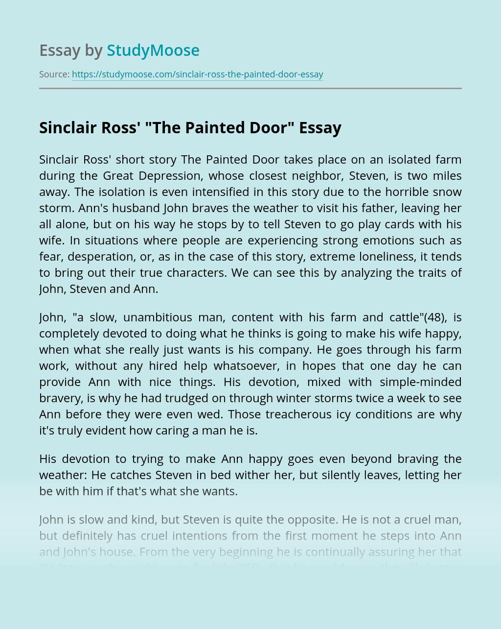 "Sinclair Ross' ""The Painted Door"""
