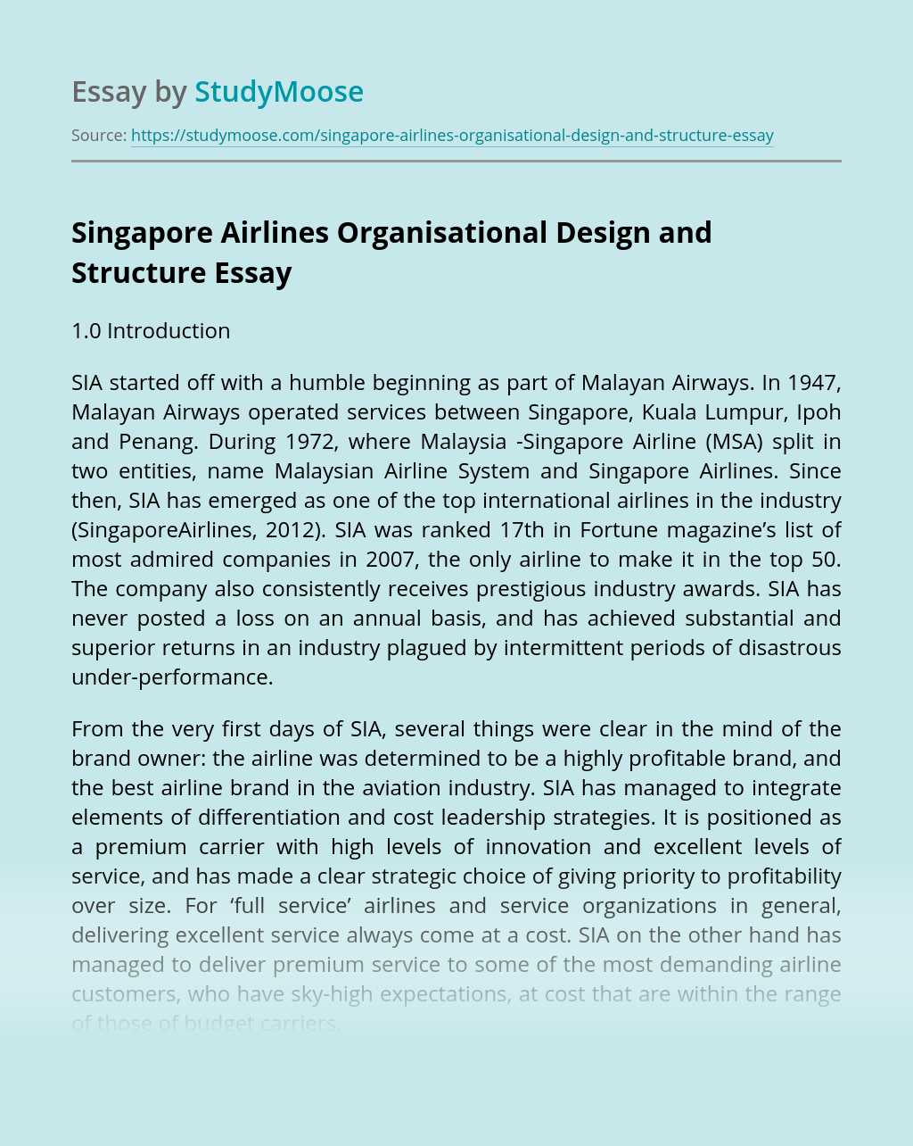Singapore Airlines Organisational Design and Structure