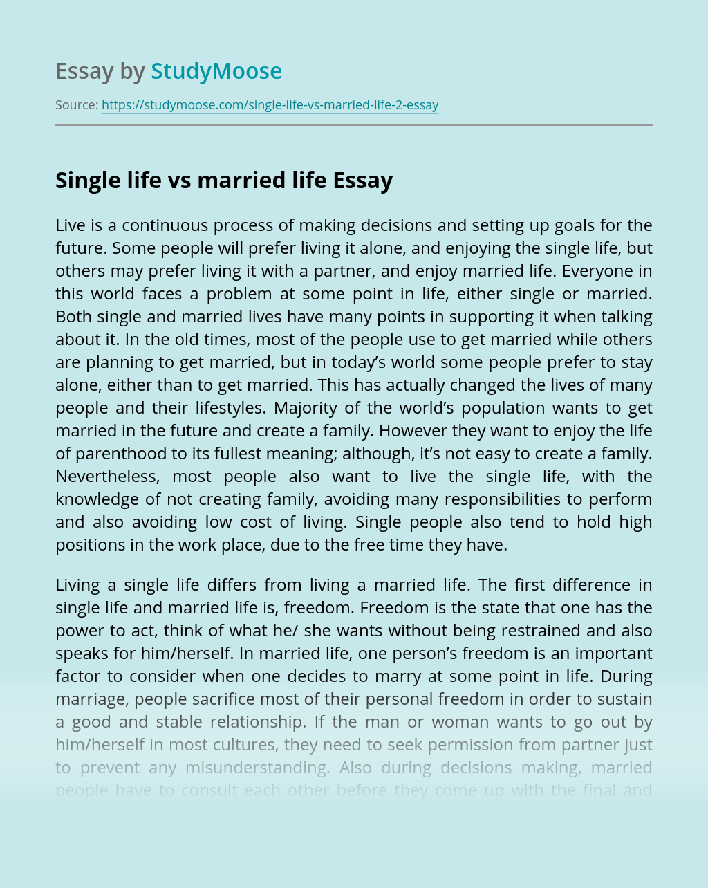 Single life vs married life